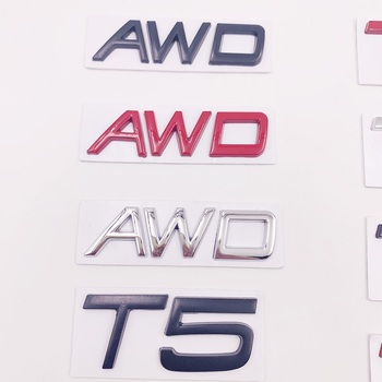 10x 3D Metal Car Sticker T5 T6 AWD Letters Emblem Badges Decal Car Styling For Volvo XC60 XC90 S60 S80 S60L V40 V60 Tail Fender