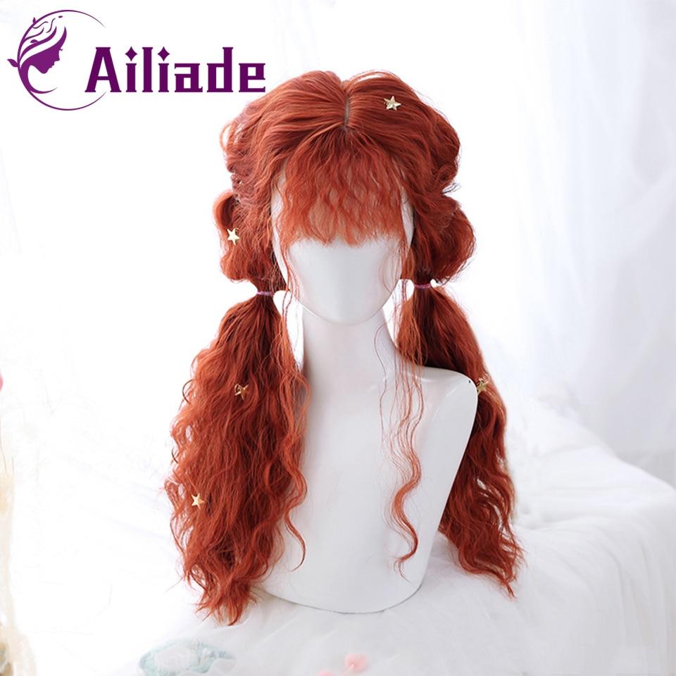 AILIADE Синтетические Длинные оранжевые вьющиеся парик из натуральных волос с челкой термостойкие парики для женщин для костюмированной вече...