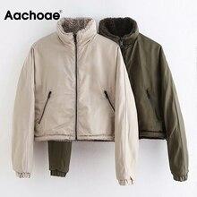 Coat Women Jacket Long-Sleeve Warm Plush Fleece Autumn Winter Thick Solid Both Aachoae