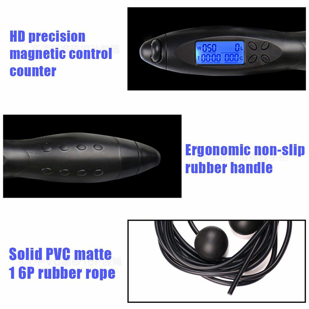 Smart Electronic Counting Adult Fitness Skipping Rope High Definition Accurate Digital Display Anti-Slip Tpe Hand Grip 1 Set
