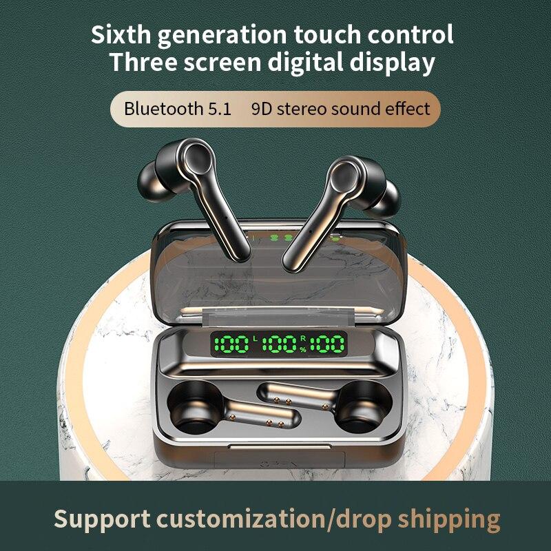 Беспроводной наушники-вкладыши TWS Bluetooth 5,1 наушники 2000 мАч спортивная водонепроницаемая гарнитура Hi-Fi 9D бас стерео наушники с микрофонами