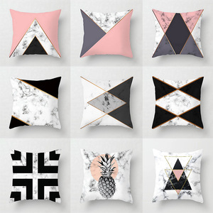 Pink Geometric Abstract Decorative Pillows Case Marble Pattern Flower Designer White and Black Grey Cheap Cushion Cover 45*45 cm(China)