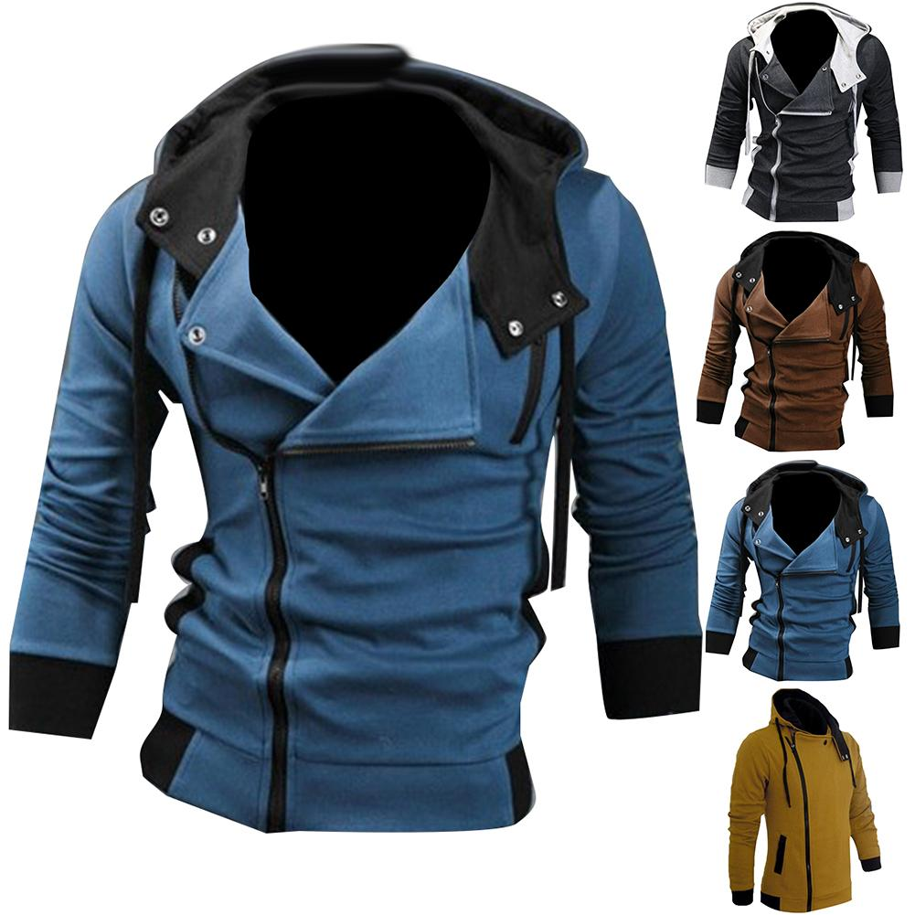 Spring Autumn Men Casual Jacket Coat Men In Men's Jackets Overcoat  Side Zipper Drawstring Long Sleeve Sweatshirt Hooded Coat