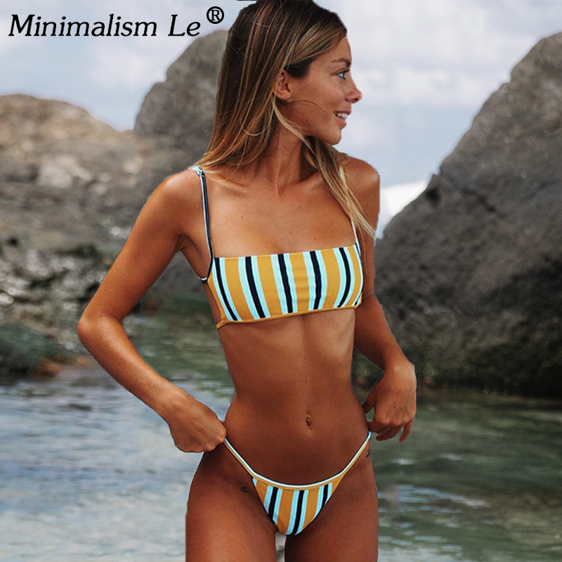 Sexy Stripe Print Swimsuit Women Solid Tube Top Bathing Suit High Cut Bikini Set Backless Beachwear Summer Brazilian Swimwear 1