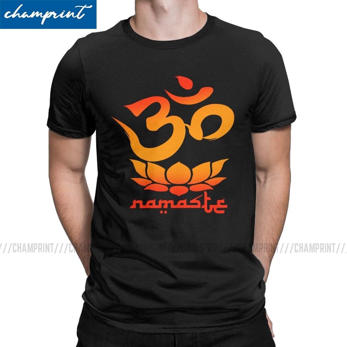 Uomini Namaste Simbolo Con Fiore di Loto T Camicette Shiva Indù Ganesha Dio India Lingam Vestiti Per Il Tempo Libero Magliette Regalo Di Compleanno