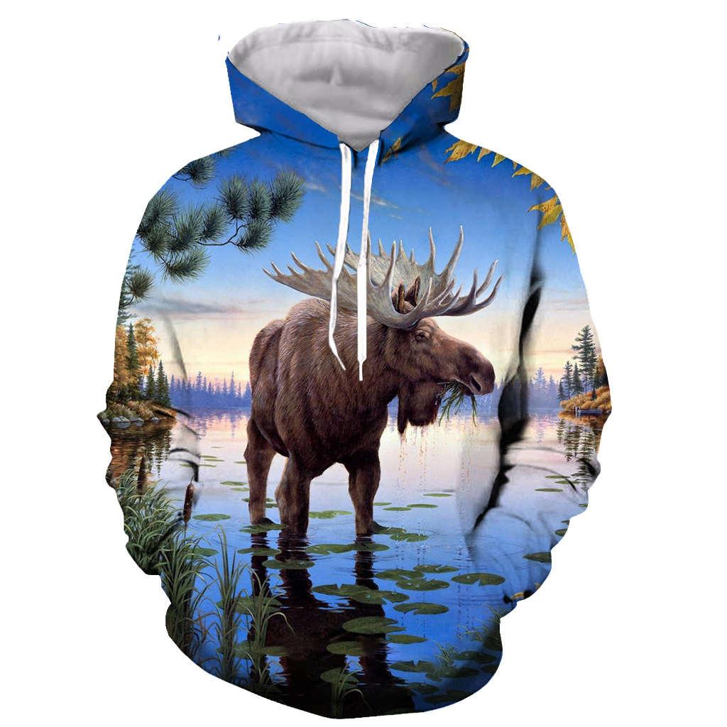 Zip Up Hoodie Life is Great Moose Hooded Sweatshirt for Men