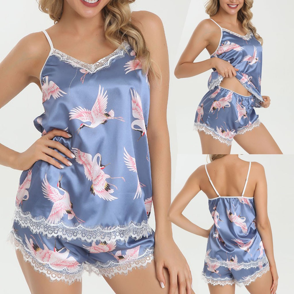 Women's Sleepwear Sexy Satin Pajama Set Lace Wireless Camisole Print Pajamas Sleepwear Bowknot Female Top and Shorts Set