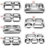Stainless Steel Divided Dinner Tray Lunch Container Food Plate for School Canteen 3/5/4 Section