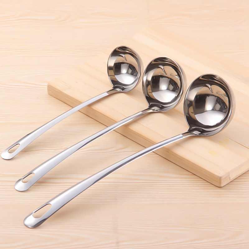 1 Uds. Cucharón de mango largo grueso de acero inoxidable cuchara grande para sopa útil herramienta de cocina utensilio herramienta para sopa cuchara
