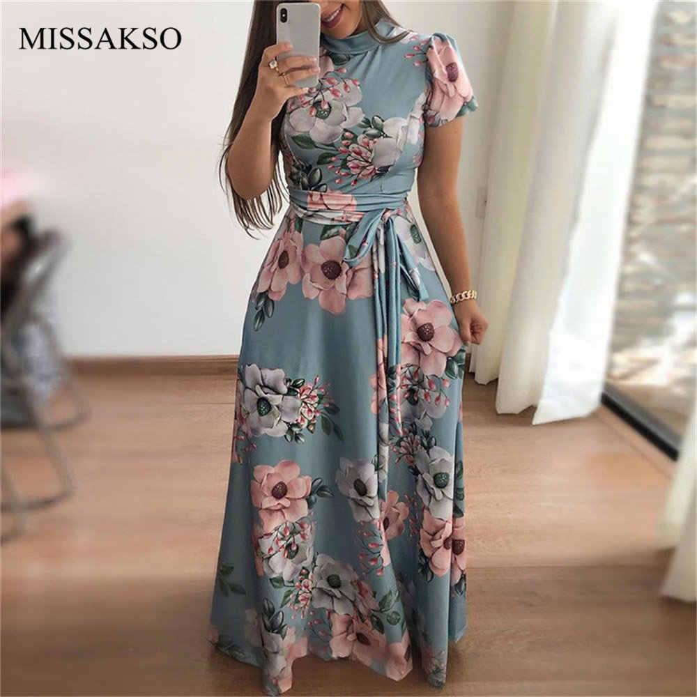 Mode imprimé florale Maxi robe décontracté col roulé à manches courtes ceintures à lacets femmes été automne fête longue robe grande taille 3XL