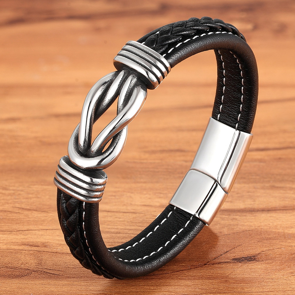 Geometric Stainless Steel Men's Leather Bracelet Hand-woven Magnetic Clasp Black Blue Leather Bangle Christmas Jewelry Gift