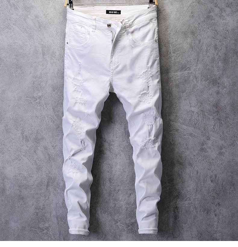Ripped Jeans for Men Skinny White Jeans Stretch Denim Pants Jeans Mens Jeans Brand Streetwear Biker Jeans Male Hip hop Size 42 11
