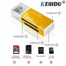 Leitor de cartão de memória kebidu, usb 2.0, multi sd/sdhc mmc/rs mmc tf/microsd leitor de cartões ms/ms pro/ms duo m2, atacado tf