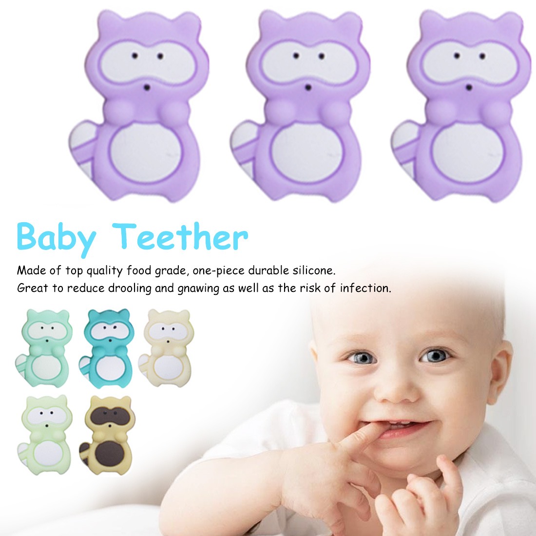 3pcs Silicone Rodent Baby Teething Rattle Beads Silicone Pearl Teething Silicone Cute Animal Shape Baby Teether