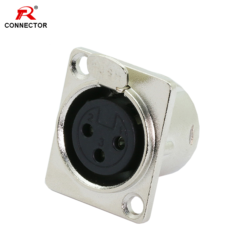 1pc 3Pins XLR Connector, Female Jack Socket, Panel Mounted Type, Chassis Square Shape, Metal Housing