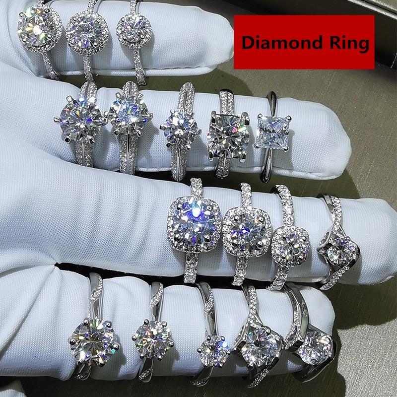 40 Style amoureux laboratoire diamant Cz promesse bague 925 en argent Sterling fiançailles bague de mariage anneaux pour femmes hommes fête bijoux cadeau