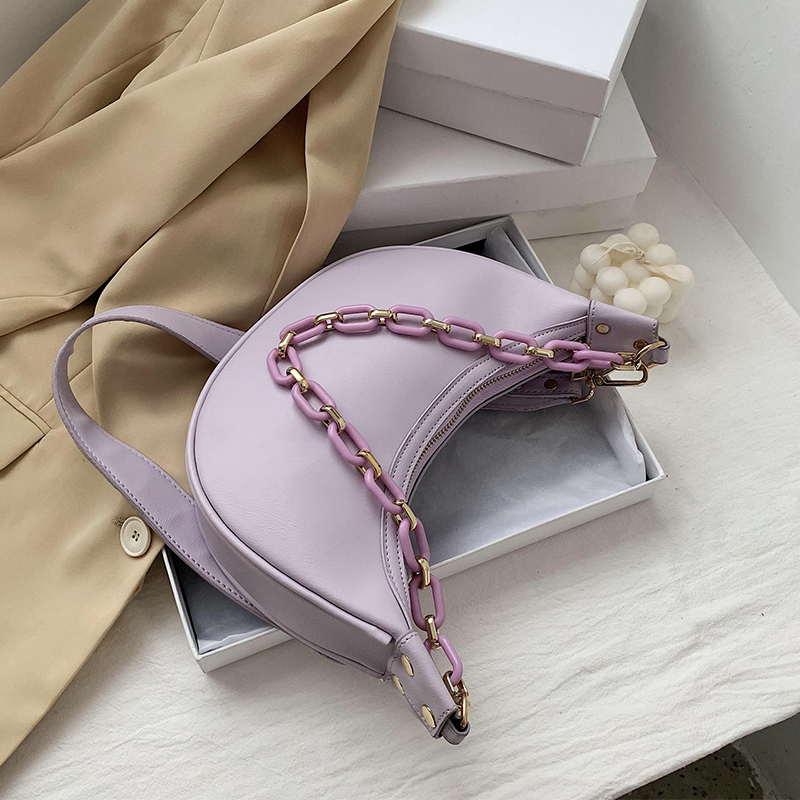Solid Color PU Leather Shoulder Crossbody Bags For Women 2020 Small Cross Body Bag Travel Chain Handbags And Purses