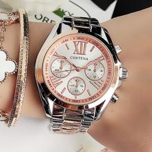 Nowe popularne kobiety zegarki luksusowe marki różowe złoto genewa panie zegar analogowe zegarki kwarcowe ze stali nierdzewnej Reloj Mujer # M tanie tanio contena QUARTZ Składane zapięcie z bezpieczeństwem CN (pochodzenie) STAINLESS STEEL 3Bar Moda casual NONE 16mm ROUND