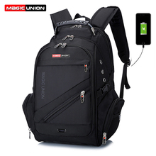 ماجيك يونيون العلامة التجارية تصميم الرجال حقيبة سفر رجل السويسري على ظهره حقائب البوليستر مقاوم للماء مكافحة سرقة على ظهره حقائب الكمبيوتر المحمول الرجال