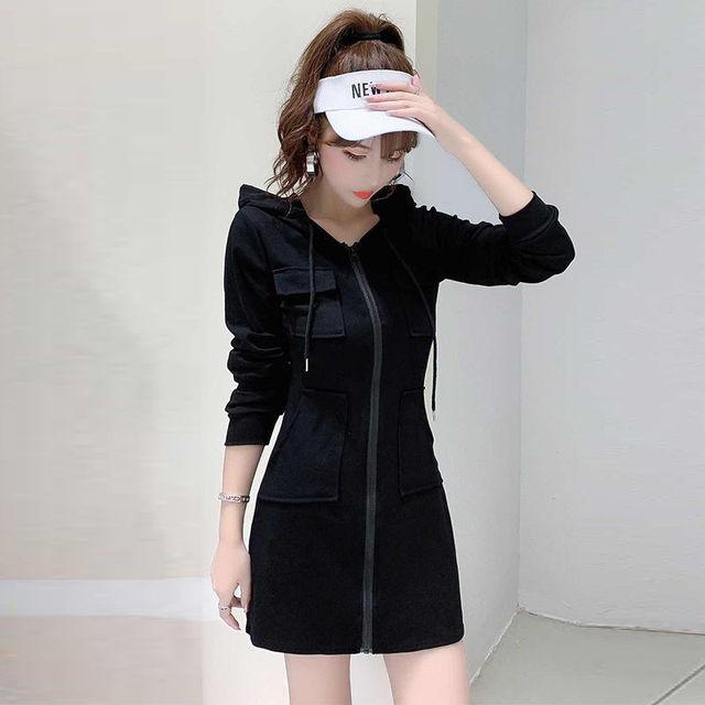 Women's casual hooded dress 2021 Korean version of the new long sleeved high waist slim slimming waist dress ins fashion trend 1