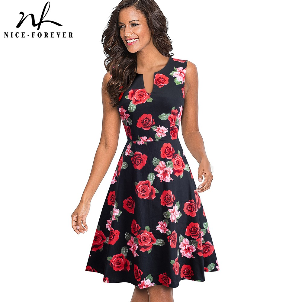 Nice-forever Retro Floral Printed Summer Dresses Party Flare Women Swing Dress BtyA091