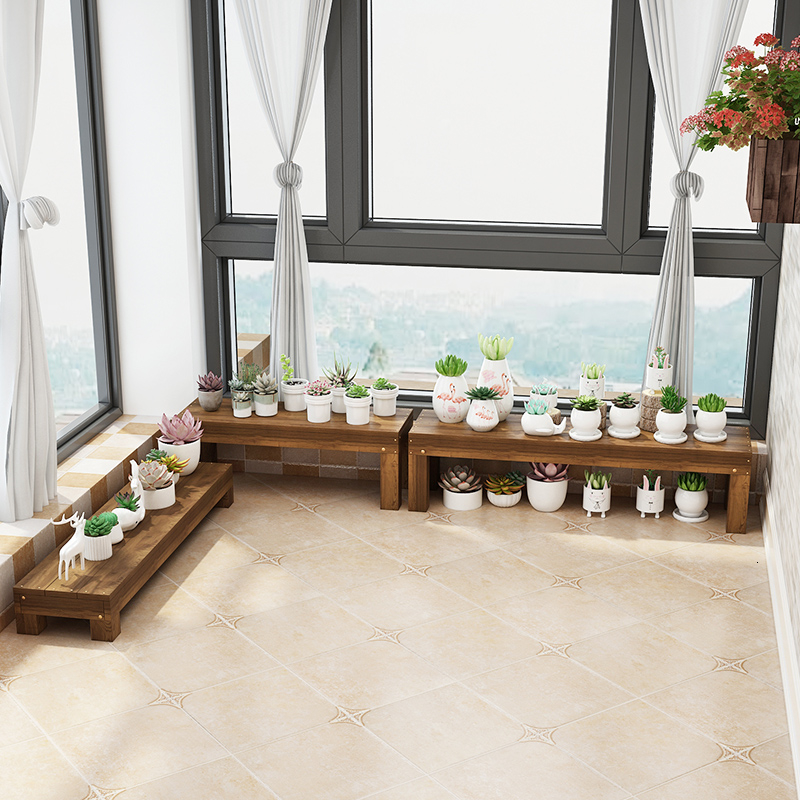 Multi-storey Balcony Outdoor Anticorrosive Wood Shavings Shelves Courtyard Outdoors Monolayer Short Stool Flowerpot Frame