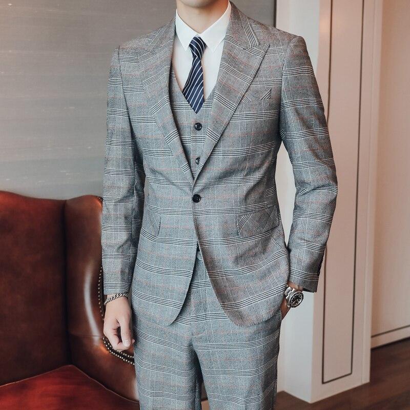 (Chaqueta + chaleco + Pantalones) traje de boda Delgado nuevo de moda para hombre/traje de rayas a cuadros S 5XL de gran tamaño/traje de 3 piezas para hombre - 3