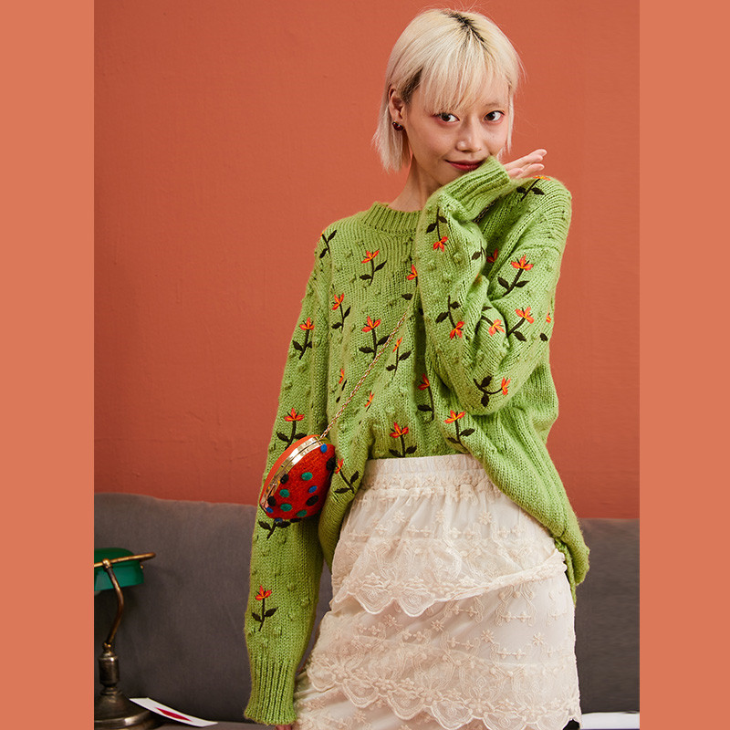 SAM'S TREE Green Mohair Floral Embroidery Knitted Pullovers Women Sweaters 2019 Winter White Korean Style Downy Loose Female Top