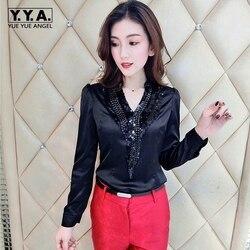 2020 Летняя женская блузка, модная Корейская OL женская рубашка с v-образным вырезом, блестящая женская блузка с блестками, облегающая женская ...