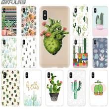 cover soft Silicone TPU Case For Xiaomi Mi A3 9 8 A1 A2 Lite 6X F1 Mix 2s Max3 Redmi 7a Go Note 7 5 Fashion Stripe Cactus