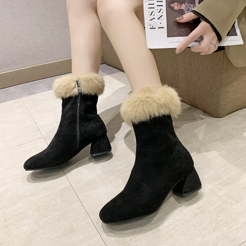 Winter Shoes Women Lace Up Bootee Woman 2019 High Heel Boots Luxury Designer Booties Ladies Plush Heels Fashion Rubber Chunky 33