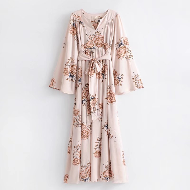 Ozhouzhan Skirt 2018 Early Spring New Style WOMEN'S Dress Bohemian Style Light Color Printed Long-sleeved Dress Women's