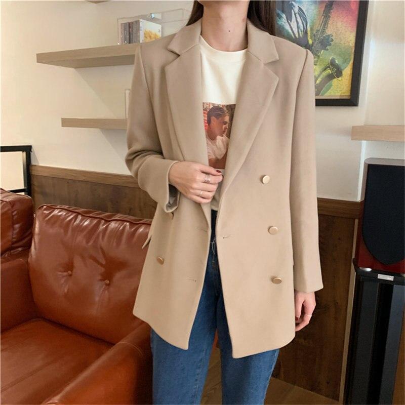 HziriP Slender Vintage Elegant 2020 Feminine Stylish Solid Women Streetwear Loose Free Coat All Match Office Lady Blazers