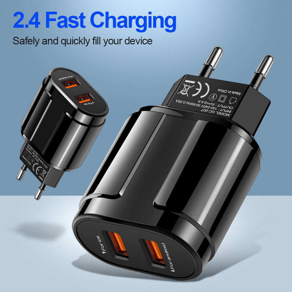 Portable 2 <font><b>USB</b></font> Charger 2.4A Fast Charging <font><b>Power</b></font> <font><b>Adapter</b></font> Mobile phone Charger for Iphone Xiaomi Android IOS phone charger plug image