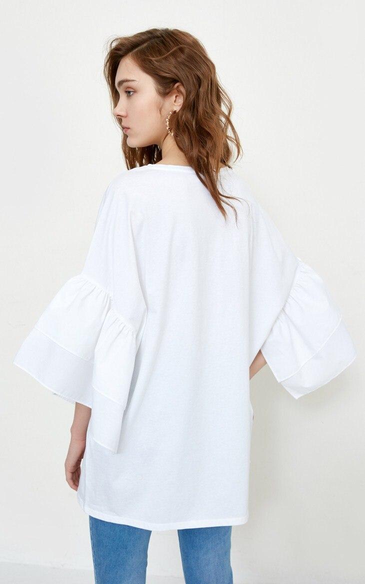 Падение плечо женская листьев лотоса рукав 100% хлопок t-рубашки сплошной цвет верхняя одежда женщин с капюшоном уличная