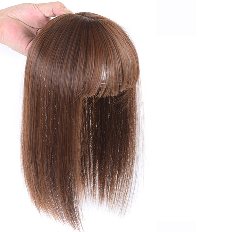 Allaosify Long Straight Hair Air Bangs Black Brown Hairpin Bangs High Temperature Fiber Hair Topper Clip In Extensions Synthetic