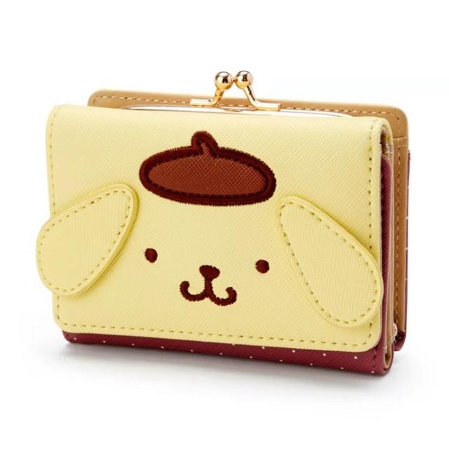 Cute Cartoon My Melody Cinnamoroll Small Wallet Short Ladies Girls Purses PomPomPurin PU Leather Trifold Wallets Women Money Bag