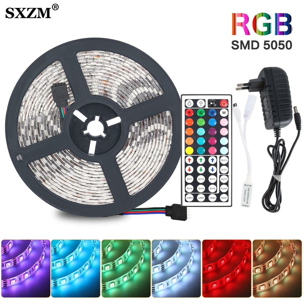 RGB Flexible LED Strip Light SMD 5050 2835 RGB Ribbon Fita Light Strip Rgb 5M 20M Led Tape Diode DC12V Remote Control+Adapter
