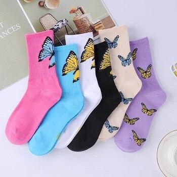 NiceMix Socks Women Kawaii happy Harajuku Femme Skateboard Korean Style Woman Girl Meias beautiful Sox  Butterfly