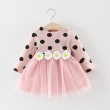 Vestido de algodón de manga larga con lunares y margaritas para niñas pequeñas, ropa de primavera