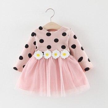 Spring Infant Baby Girls Long Sleeve Polka Dot Daisy Flower Cotton Dress Clothing