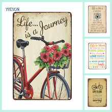 Life is a Journey Retro Sign Metal Bicycle Plaque Tin Vintage Bike Signs Motto English Plate Custom Board Photo Wall Display