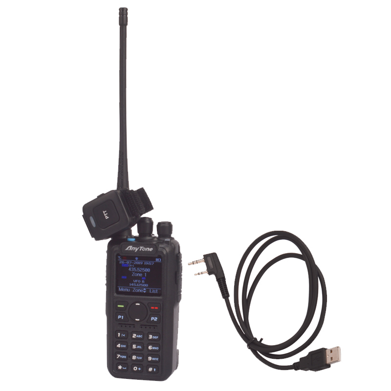 Anytone Walkie-Talkie Bluetooth Ptt DMR Dual-Band APRS Two-Way-Radio Digital PLUS Pc-Cable