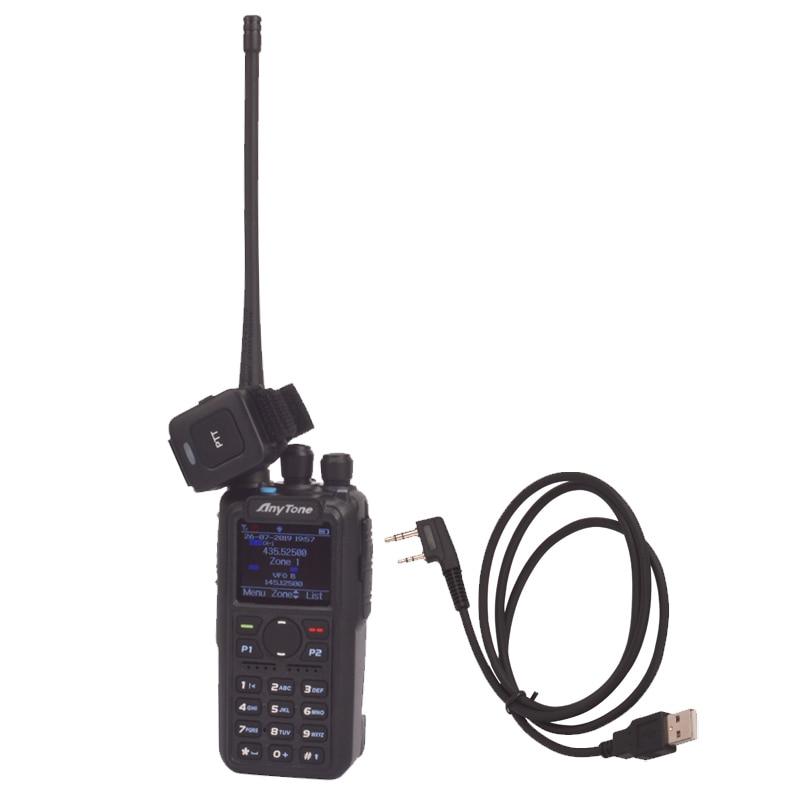 Anytone Walkie-Talkie Bluetooth Ptt DMR Dual-Band APRS Two-Way-Radio Digital PLUS Pc-Cable