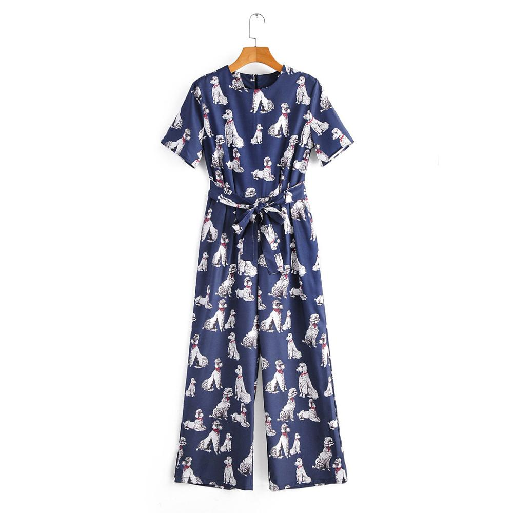 2020 New Women Cut Dog Print Casual Siamese Ladies O Neck Short Sleeve Bow Tied Sashes Wide Leg Pants Chic Pocket Jumpsuits P604