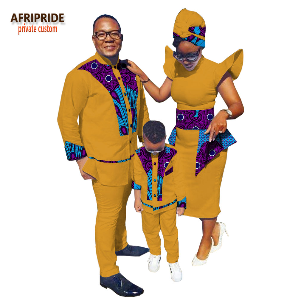 African Print Family Clothes AFRIPRIDE Men's Suit+mid-calf Length Women Dress With Headscarf+boys' Suit Family Set A18F001