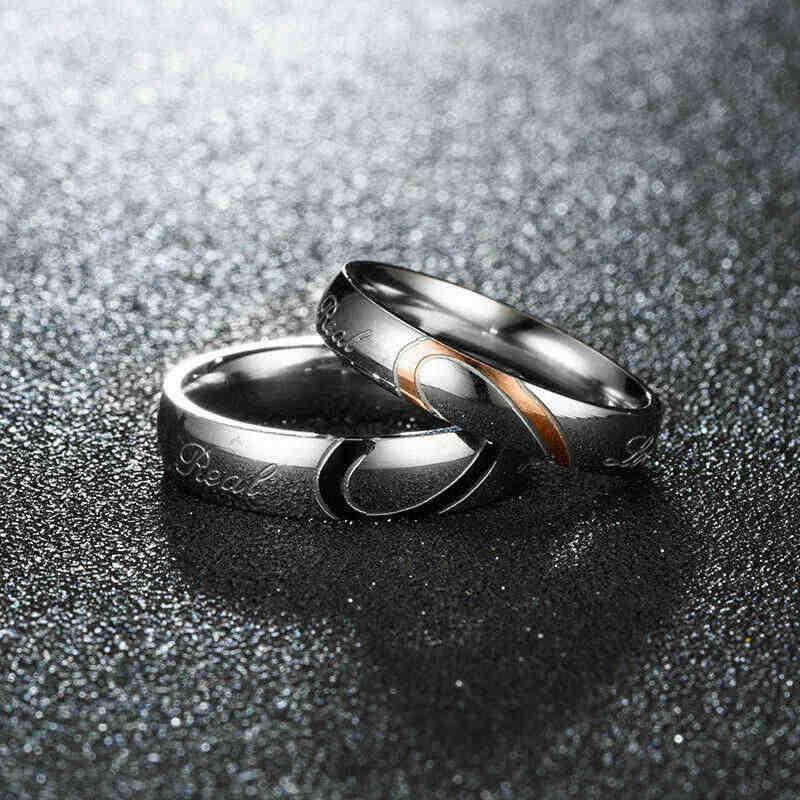 Bague coeur véritable amour titane acier promesse fiançailles Couples bague de mariage