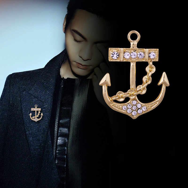 Korea Baru Rhinestones Anchor Pin Bros Rumbai Logam Kerah Pin Lencana Fashion Perhiasan Suit Kerah Kemeja untuk Pria Aksesoris