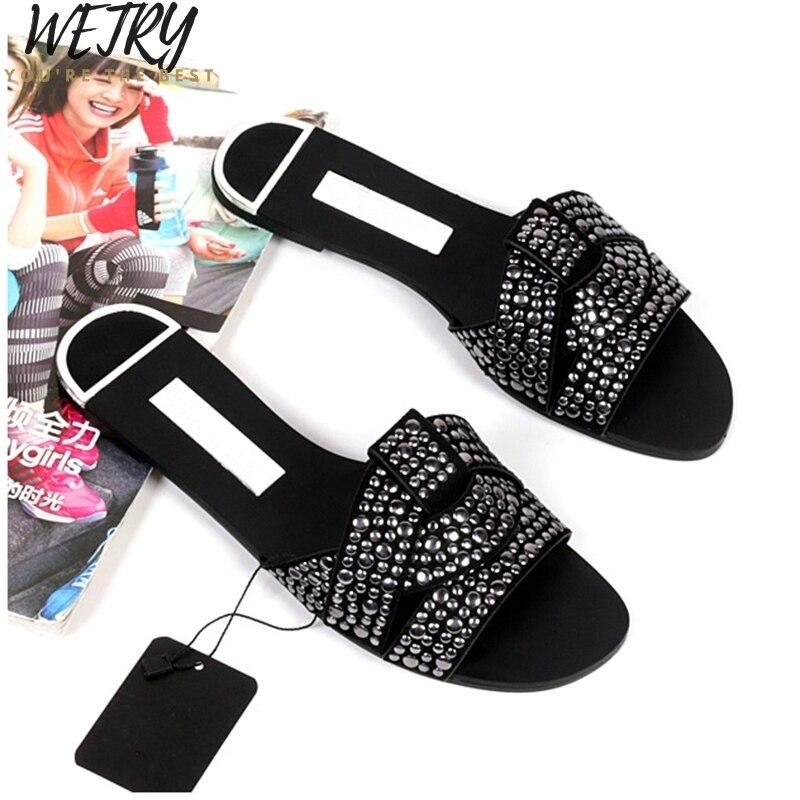 IN 2020 Women Outdoor Summer Slipper  Plus Size 35-41 Ladies Beach Slide Flip Flops Fashion Rivet Open Toe  Female Flip Flops