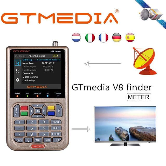 "GTMEDIA V8 Finder Цифровой спутниковый Finder METER HD DVB S2 S2x LNB защита от короткого замыкания 3,5 ""LCD спутниковый рецептор и аккумулятор"